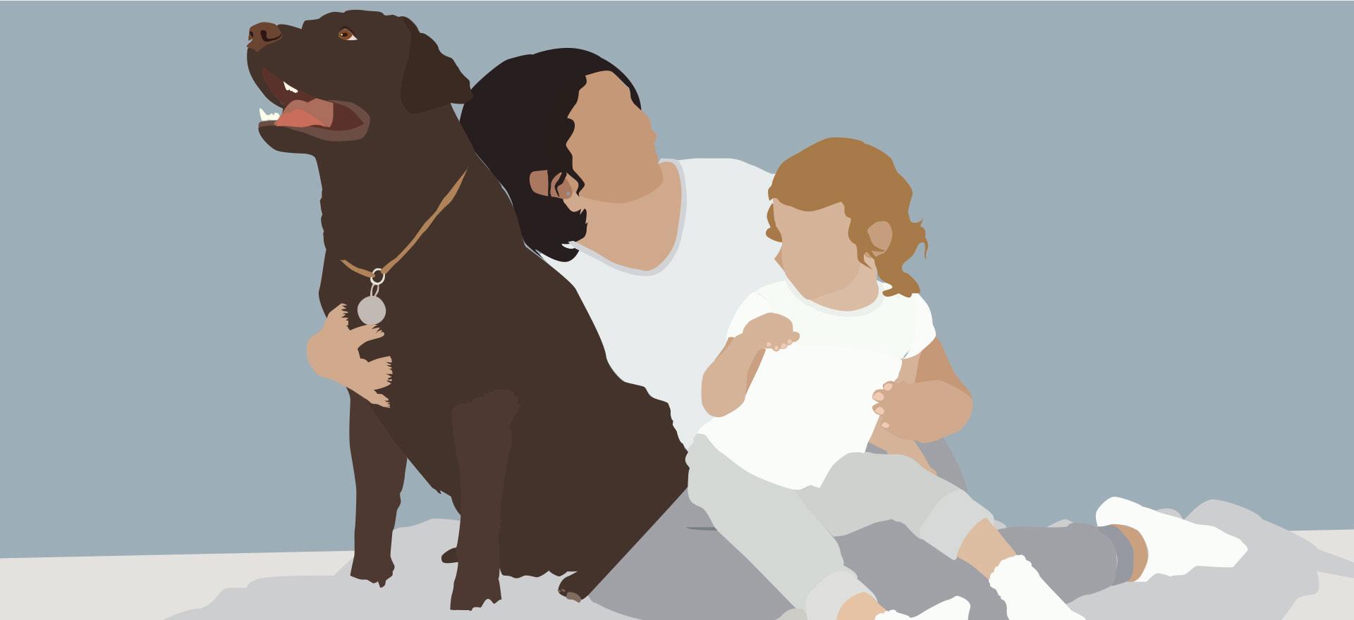 Grafik af familie med hund