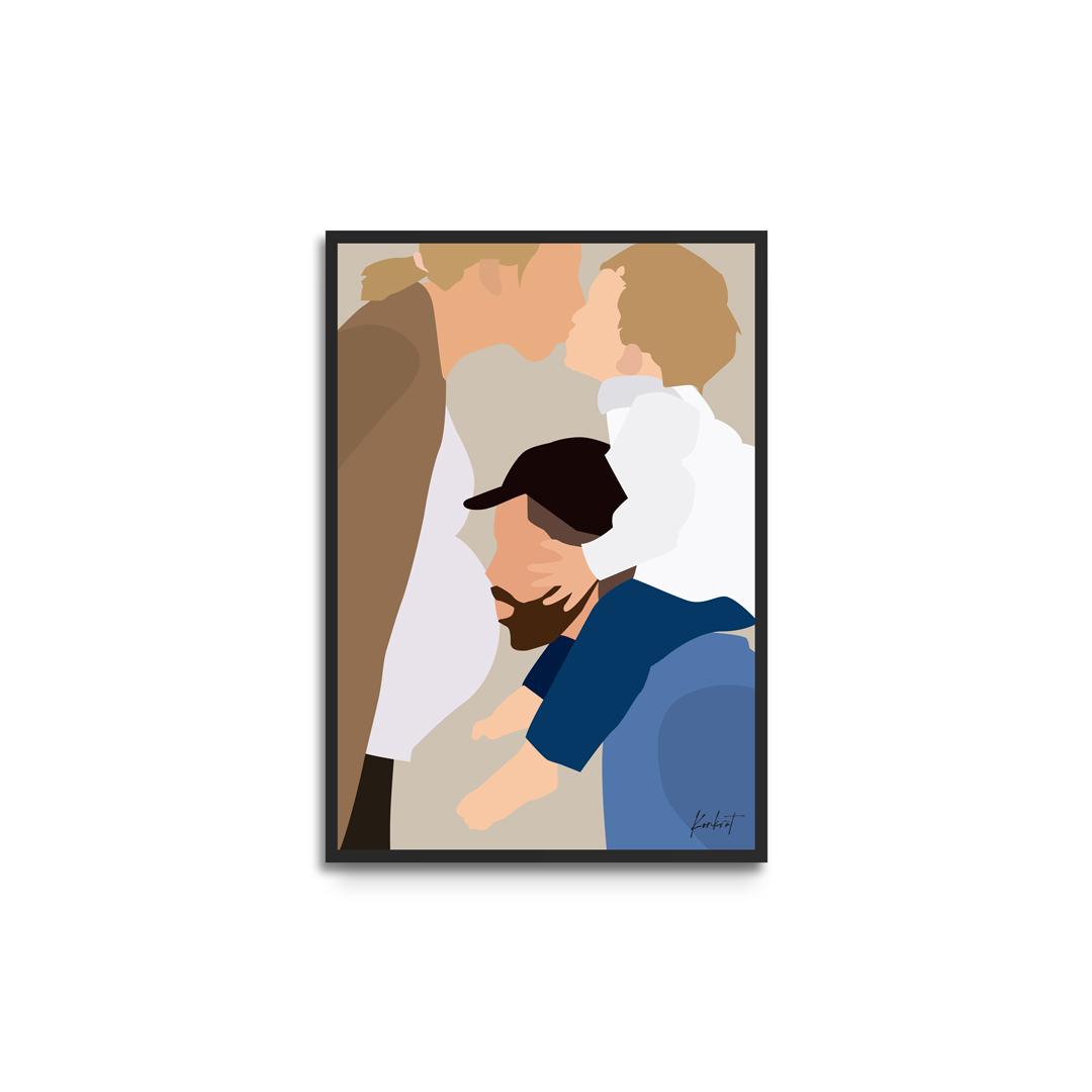 Plakat i ramme - personligt portræt familie