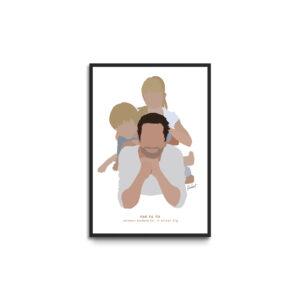 Plakat i ramme - personligt portræt far med børn