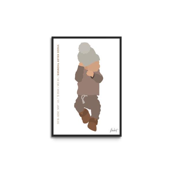 fødselsplakat i ramme - tekst venstre side