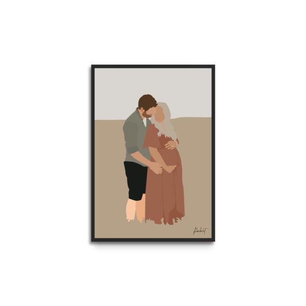 Plakat i ramme - personligt portræt gravid