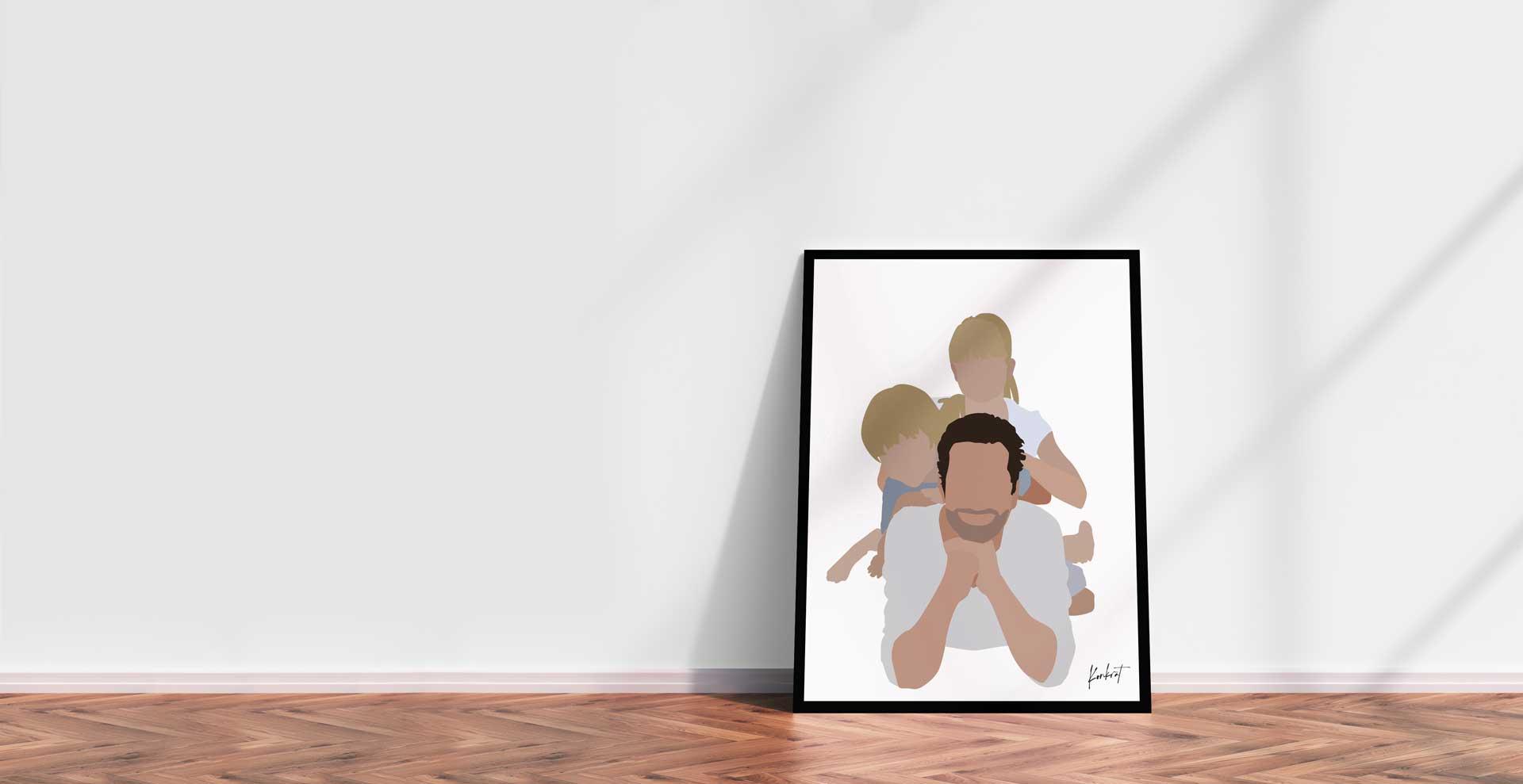 Plakat i ramme - far med børn - mock up
