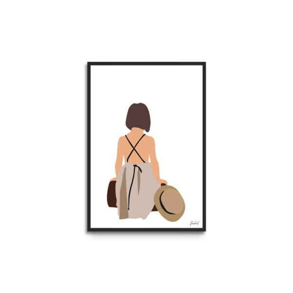 Plakat i ramme - pige med ryggen til