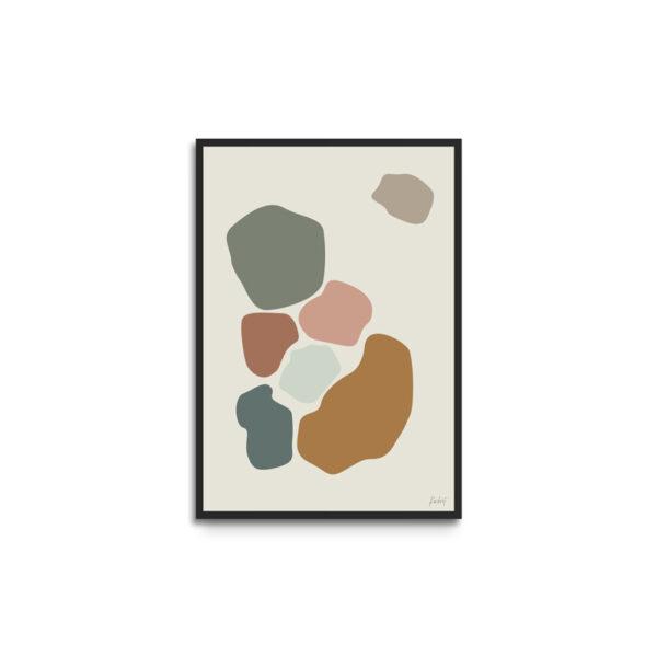 Plakat i ramme - eget design - abstract former - outsider