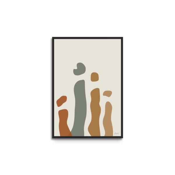 Plakat i ramme - eget design - abstract former - familie
