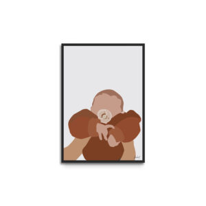 Plakat i ramme - baby med sut