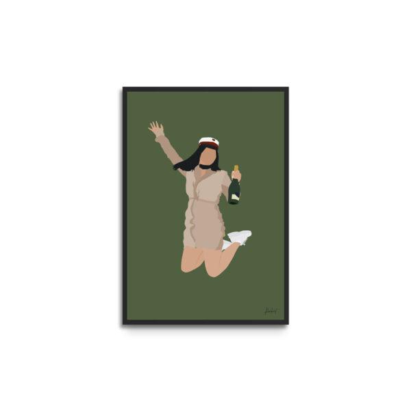 Plakat i ramme - studentportræt pige der hopper