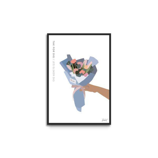 Plakat i ramme - illustration af buket med lyserøde og orange blomster - hvid baggrund - tekst tak for dig - jeg elsker dig
