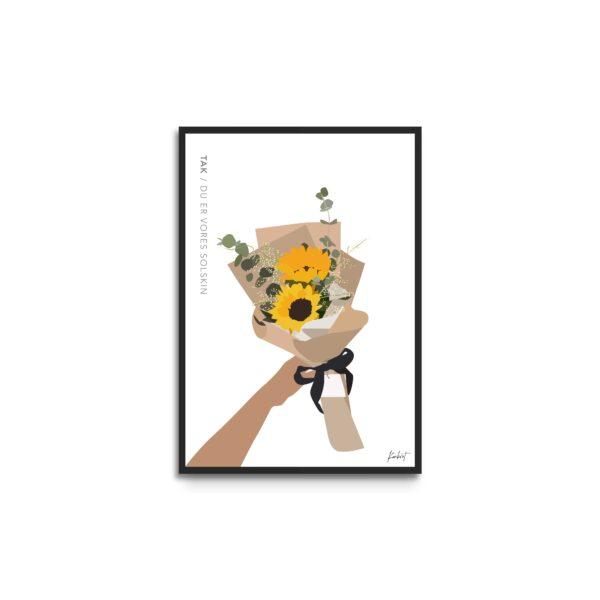 Plakat i ramme - illustration af buket med solsikker og gule blomster - tekst tak du er vores solskin - hvid baggrund