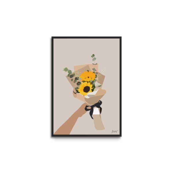 Plakat i ramme - illustration af buket med solsikker og gule blomster - beige baggrund