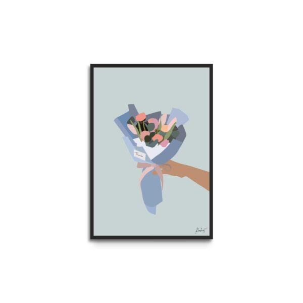 Plakat i ramme - illustration af buket med lyserøde og orange blomster - blågrøn baggrund