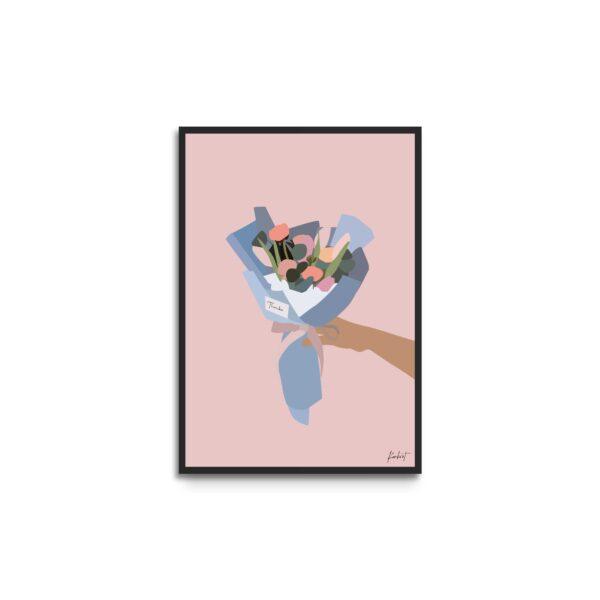 Plakat i ramme - illustration af buket med lyserøde og orange blomster - lyserød baggrund